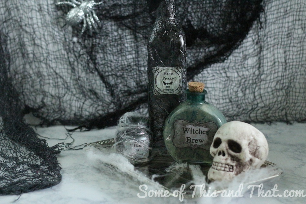 DIY Halloween Decor! DIY Witch Bottles 3 Different Styles with free printables!