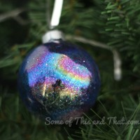 DIY Glitter Galaxy Christmas Ornaments