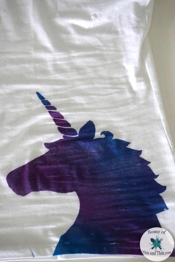 DIY Galaxy Unicorn Shirt! A super easy and fun way to spruce up a plain old t-shirt! Grab a shirt some tie dye and freezer paper and the options are endless