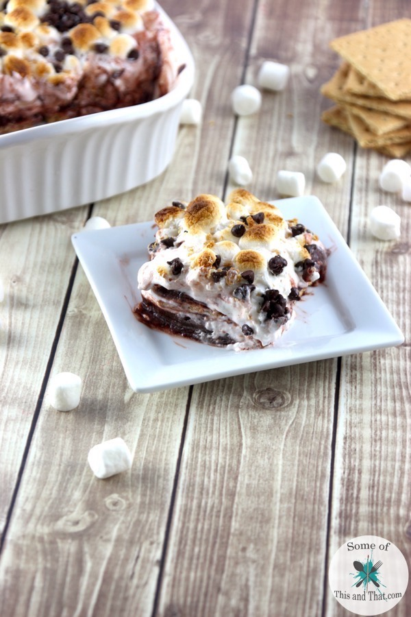 No Bake Smores Cake! This is a fun and easy way to bring smores inside!