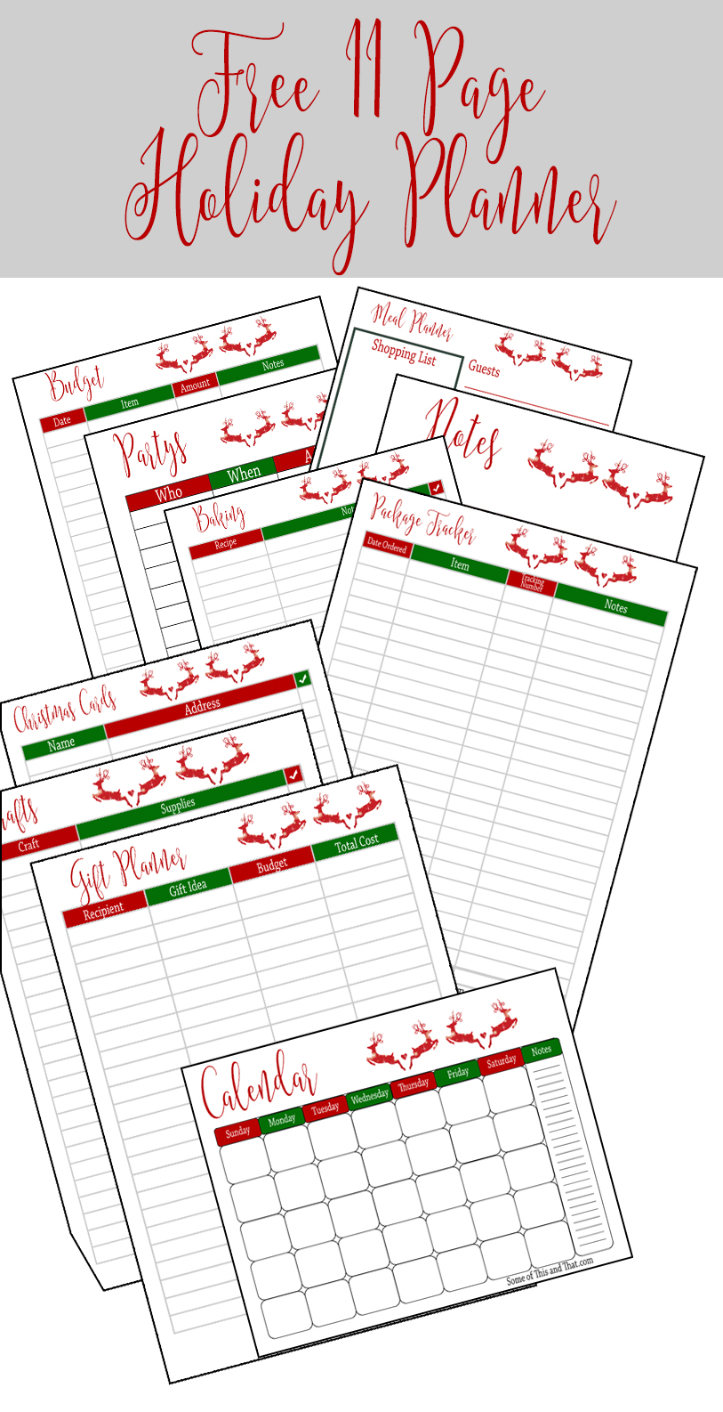 Free Holiday Planner