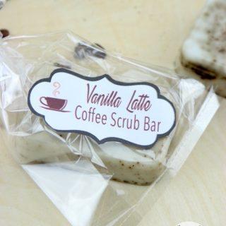 DIY Vanilla Latte Coffee Scrub Bars with free printable label!