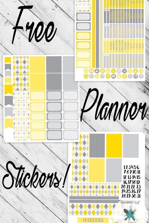 Free Yellow Argyle Planner Stickers!