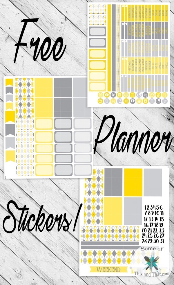 Free Yellow Argyle Planner Stickers!