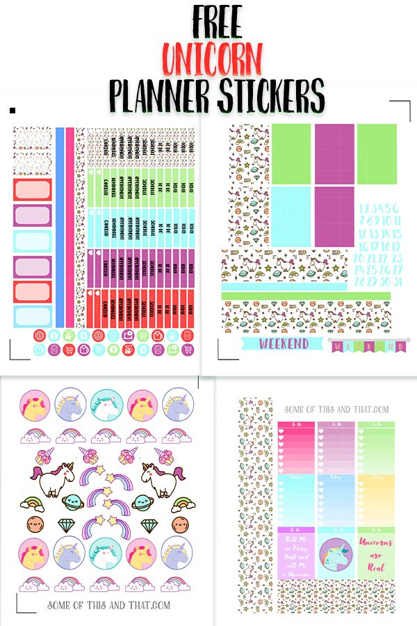 Free Unicorn Planner Stickers