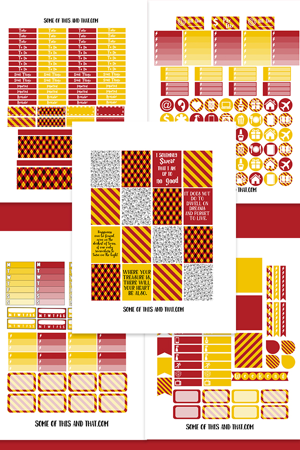 Free Harry Potter Planner Stickers Free Silhouette Cut file included!