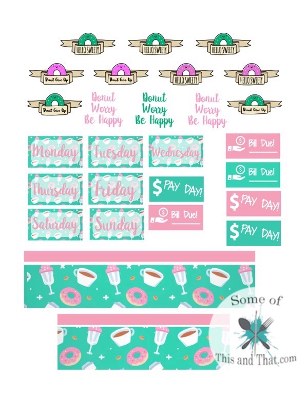 Coffee and Donuts Free Planner Stickers!